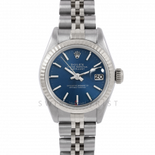 Rolex Datejust 26 6917 White Gold & Stainless Steel, Blue Stick, Fluted Bezel On A Jubilee Bracelet - Ladies Pre-Owned Watch