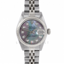 Rolex Datejust 26 6917 Stainless Steel, Custom Black Mother of Pearl Diamond, Fluted Bezel On A Jubilee Bracelet - Ladies Pre-Owned Watch