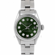 Rolex Datejust 26 6917 White Gold & Stainless Steel, Custom Green Diamond, Fluted Bezel On An Oyster Bracelet - Ladies Pre-Owned Watch