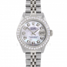 Rolex Datejust 6917 Custom Mother Of Pearl Diamond Dial - Stainless Steel - 1CT VS Diamond Bezel On A Jubilee Band - Pre-Owned