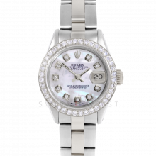 Rolex Datejust 6917 Custom Mother Of Pearl Diamond Dial - Stainless Steel - 1CT VS Diamond Bezel On An Oyster Band - Pre-Owned