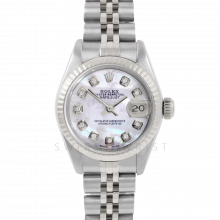 Rolex Datejust 26 6917 White Gold & Steel, Custom Mother of Pearl Diamond, Fluted Bezel On A Jubilee Bracelet - Ladies Pre-Owned Watch