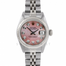 Rolex Datejust 26 6917 Custom Pink Mother of Pearl Diamond Dial - Stainless Steel - White Gold Fluted Bezel On A Jubilee Band - Pre-Owned