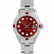 Rolex Datejust 26 6917 Stainless Steel, Custom Red Diamond, Diamond & Ruby Bezel On An Oyster Bracelet - Ladies Pre-Owned Watch