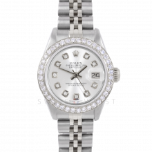 Rolex Datejust 6917 Custom Silver Diamond Dial - Stainless Steel - 1CT VS Diamond Bezel On A Jubilee Band - Pre-Owned