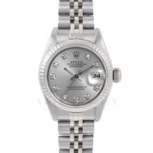 Rolex Datejust 6917 Factory Silver Diamond Dial - Stainless Steel - White Gold Fluted Bezel On A Jubilee Band - Pre-Owned