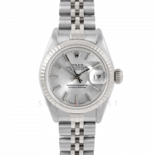 Rolex Datejust 6917 Silver Stick Dial - Stainless Steel - White Gold Fluted Bezel On A Jubilee Band - Pre-Owned
