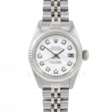 Rolex Datejust 6917 Custom White Diamond Dial - Stainless Steel - White Gold Fluted Bezel On A Jubilee Band - Pre-Owned