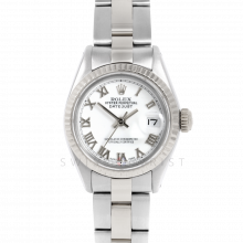 Rolex Datejust 6917 White Roman Dial - Stainless Steel - White Gold Fluted Bezel On A Oyster Band - Pre-Owned