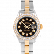Rolex Datejust 6917 Custom Black Diamond Dial Yellow Gold & Stainless Steel - 1CT VS Diamond Bezel On An Oyster Band - Pre-Owned