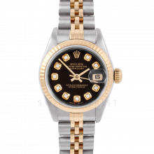 Rolex Datejust 6917 Custom Black Diamond Dial Yellow Gold & Stainless Steel - Fluted Bezel On A Jubilee Band - Pre-Owned