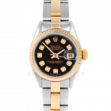 Rolex Datejust 6917 Custom Black Diamond Dial Yellow Gold & Stainless Steel - Fluted Bezel On A Oyster Band - Pre-Owned