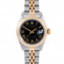 Rolex Datejust 6917 Black Roman Dial Yellow Gold & Stainless Steel - Fluted Bezel On A Jubilee Band - Pre-Owned