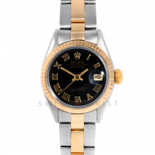 Rolex Datejust 26 6917 Yellow Gold & Stainless Stainless Steel, Black Roman, Fluted Bezel On An Oyster Bracelet - Ladies Pre-Owned Watch