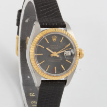 Rolex Datejust 26 mm 6917 Yellow Gold & Stainless Steel w/ Black Tapestry Stick Dial & Fluted Bezel with Black Leather Strap - Ladies Pre-Owned Watch