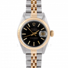 Rolex Datejust 6917 Black Stick Dial Yellow Gold & Stainless Steel - Fluted Bezel On A Jubilee Band - Pre-Owned