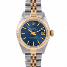 Rolex Datejust 26 6917 Yellow Gold & Stainless Steel, Blue Stick, Fluted Bezel On A Jubilee Bracelet - Ladies Pre-Owned Watch