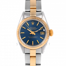 Rolex Datejust 26 6917 Yellow Gold & Stainless Steel, Blue Stick, Fluted Bezel On An Oyster Bracelet - Ladies Pre-Owned Watch