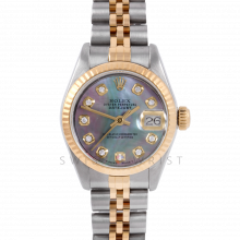 Rolex Datejust 26 6917 Yellow Gold & Steel, Custom Black Mother of Pearl Diamond, Fluted Bezel On A Jubilee Bracelet - Ladies Pre-Owned Watch