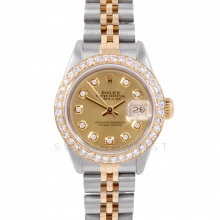 Rolex Datejust 6917 Custom Champagne Diamond Dial Yellow Gold & Stainless Steel - 1CT VS Diamond Bezel On An Jubilee Band - Pre-Owned