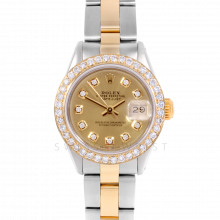 Rolex Datejust 6917 Custom Champagne Diamond Dial Yellow Gold & Stainless Steel - 1CT VS Diamond Bezel On An Oyster Band - Pre-Owned