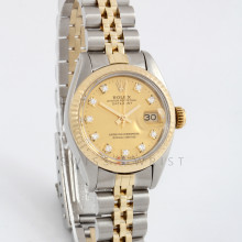 Rolex Datejust 26 6917 Yellow Gold & Steel w/ Champagne Diamond Dial & Fluted Bezel with Jubilee Bracelet - Ladies Pre-Owned Watch