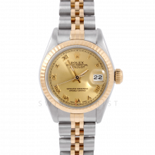 Rolex Datejust 6917 Champagne Roman Dial Yellow Gold & Stainless Steel - Fluted Bezel On A Jubilee Band - Pre-Owned