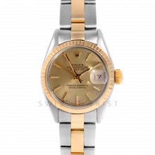 Rolex Datejust 26 6917 Yellow Gold & Stainless Steel, Champagne Stick, Fluted Bezel On An Oyster Bracelet - Ladies Pre-Owned Watch
