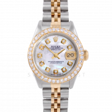 Rolex Datejust 6917 Custom Mother of Pearl Diamond Dial Yellow Gold & Stainless Steel - 1CT VS Diamond Bezel On An Jubilee Band - Pre-Owned