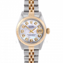 Rolex Datejust 26 6917 Yellow Gold & Steel, Custom Mother of Pearl Diamond, Fluted Bezel On A Jubilee Bracelet - Women's Pre-Owned Watch