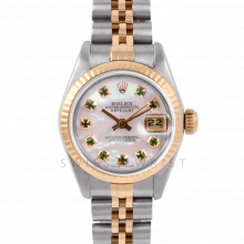 Rolex Datejust 26 6917 Yellow Gold & Steel, Custom Mother of Pearl Emerald Dial, Fluted Bezel On A Jubilee Bracelet - Ladies Pre-Owned Watch