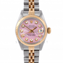 Rolex Datejust 26 6917 Yellow Gold & Steel, Custom Pink Mother of Pearl Diamond, Fluted Bezel On A Jubilee Bracelet - Ladies Pre-Owned Watch