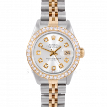Rolex Datejust 6917 Custom Silver Diamond Dial Yellow Gold & Stainless Steel - 1CT VS Diamond Bezel On A Jubilee Band - Pre-Owned