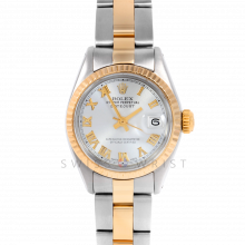 Rolex Datejust 26 6917 Yellow Gold & Stainless Steel, Silver Roman, Fluted Bezel On An Oyster Bracelet - Ladies Pre-Owned Watch