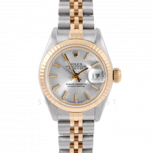 Rolex Datejust 6917 Silver Stick Dial Yellow Gold & Stainless Steel - Fluted Bezel On A Jubilee Band - Pre-Owned