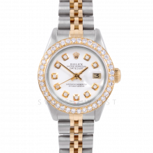 Rolex Datejust 6917 Custom White Diamond Dial Yellow Gold & Stainless Steel - 1CT VS Diamond Bezel On A Jubilee Band - Pre-Owned