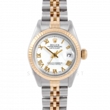 Rolex Datejust 6917 White Roman Dial Yellow Gold & Stainless Steel - Fluted Bezel On A Jubilee Band - Pre-Owned