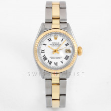 Rolex Datejust 26mm 6917 Yellow Gold & Stainless Steel w/ White Buckley Roman Dial & Fluted Bezel with Oyster Bracelet - Ladies Pre-Owned Watch