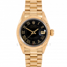 Rolex Ladies President 6917 Black Roman Dial - 26mm Yellow Gold - Fluted Bezel on a Presidential Bracelet - Pre-Owned