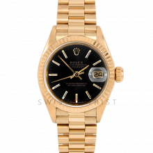 Rolex Ladies President 6917 Black Stick Dial - 26mm Yellow Gold - Fluted Bezel on a Presidential Bracelet - Pre-Owned