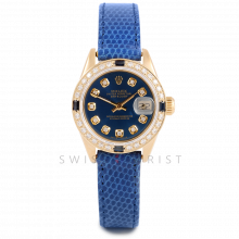 Rolex Datejust 26 mm 6916 Yellow Gold  w/ Custom Blue Diamond Dial & Diamond Bezel with Christian Dior Leather Strap - Ladies Pre-Owned Watch