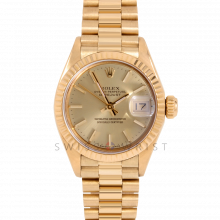 Rolex Ladies President 6917 Champagne Stick Dial - 26mm Yellow Gold - Fluted Bezel on a Presidential Bracelet - Pre-Owned