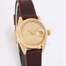 Rolex Datejust 26 mm 6917 Yellow Gold  w/ Pave Diamond Dial & Fluted Bezel with Gucci Leather Band - Ladies Pre-Owned Watch