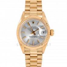 Rolex Ladies President 6917 Silver Stick Dial - 26mm Yellow Gold - Fluted Bezel on a Presidential Bracelet - Pre-Owned