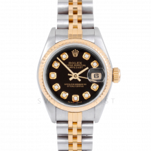 Rolex Datejust 69173 Custom Black Diamond Dial - 18k Yellow Gold & Stainless Steel - Fluted Bezel On A Jubilee Band - Pre-Owned
