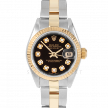 Rolex Datejust 69173 Custom Black Diamond Dial - 18k Yellow Gold & Stainless Steel - Fluted Bezel On A Oyster Band - Pre-Owned