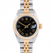 Rolex Datejust 69173 Black Roman Dial - 18k Yellow Gold & Stainless Steel - Fluted Bezel On A Jubilee Band - Ladies Pre-Owned Watch