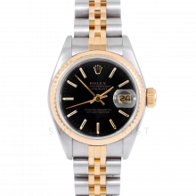 Rolex Datejust 69173 Black Stick Dial - 18k Yellow Gold & Stainless Steel - Fluted Bezel On A Jubilee Band - Pre-Owned