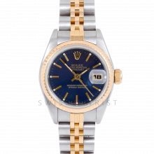 Rolex Datejust 69173 Blue Stick Dial 18k Yellow Gold & Stainless Steel - Fluted Bezel On A Jubilee Band - Pre-Owned