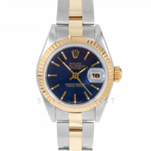 Rolex Datejust 69173 Blue Stick Dial 26mm Yellow Gold & Stainless Steel - Fluted Bezel On An Oyster Band - Pre-Owned